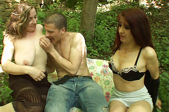Group sex in forest